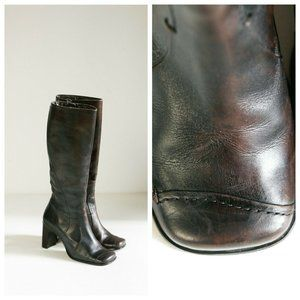 Vintage Square Toe Brown Leather Boots
